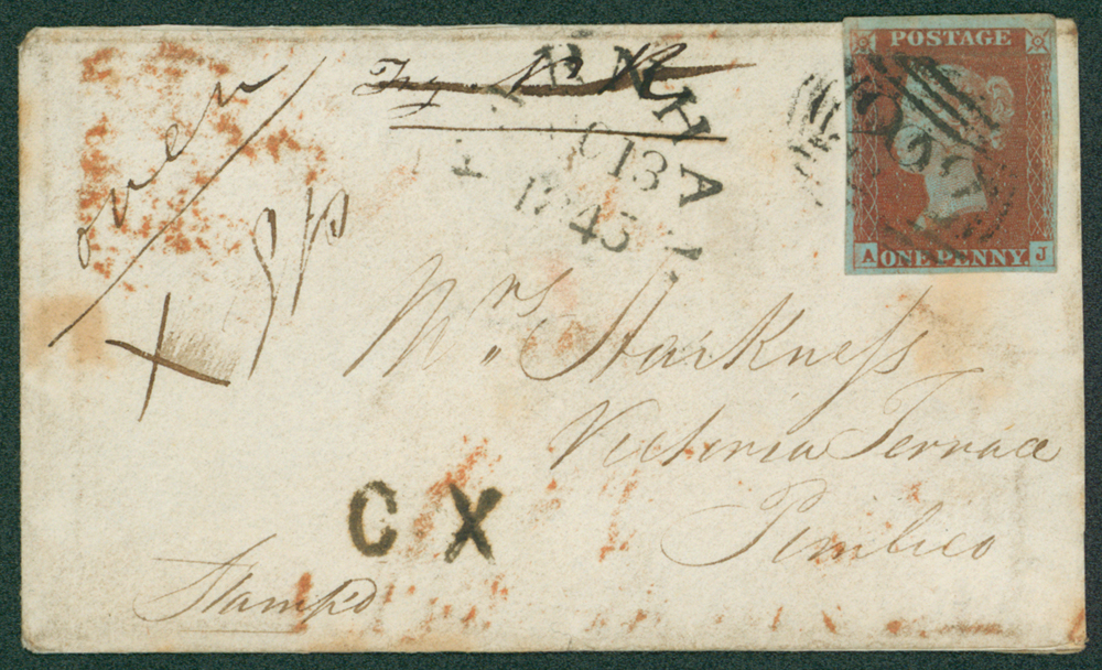 1845 small envelope (opened for display) from Farnham