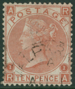 CHILE-VALPARAISO 1867 10d red-brown