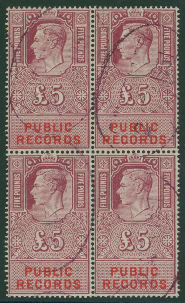 PUBLIC RECORDS 1947 £5 calret & vermilion