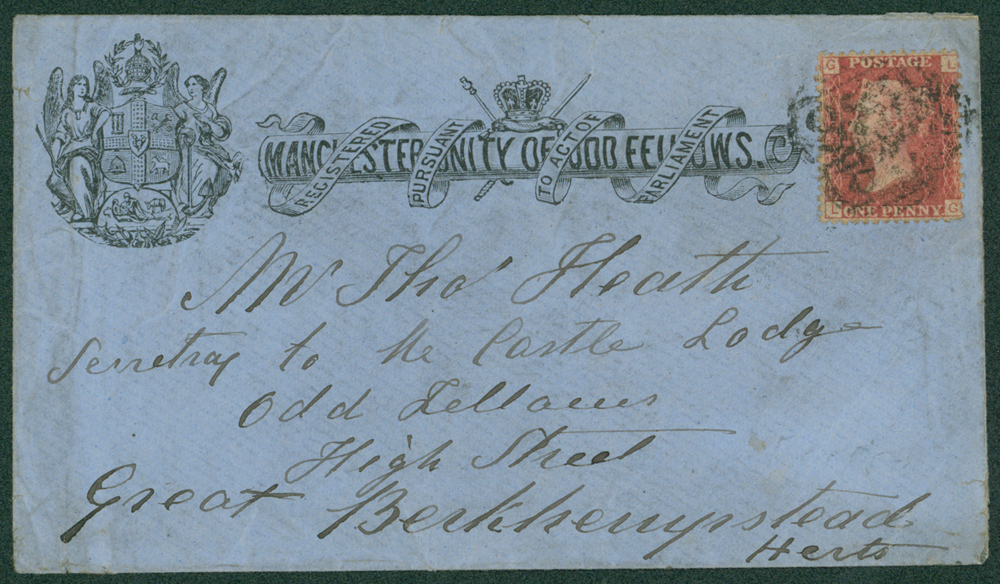1870 printed envelope for 'Manchester Unity of Good Fellows'