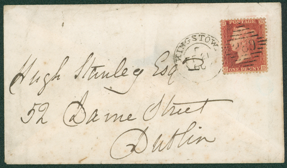 1860 envelope from Kingstown to Dublin
