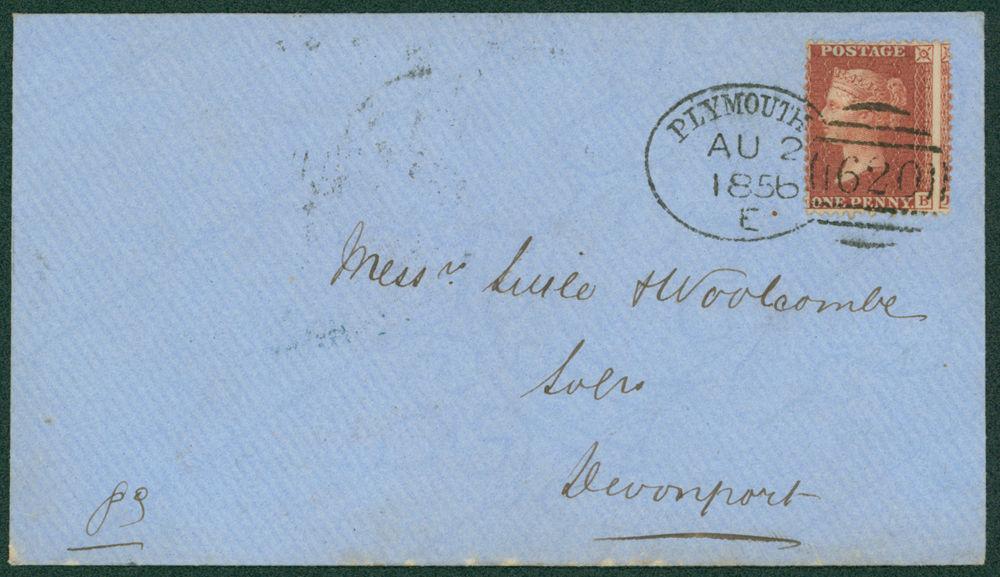 1856 envelope from Plymouth to Devonport
