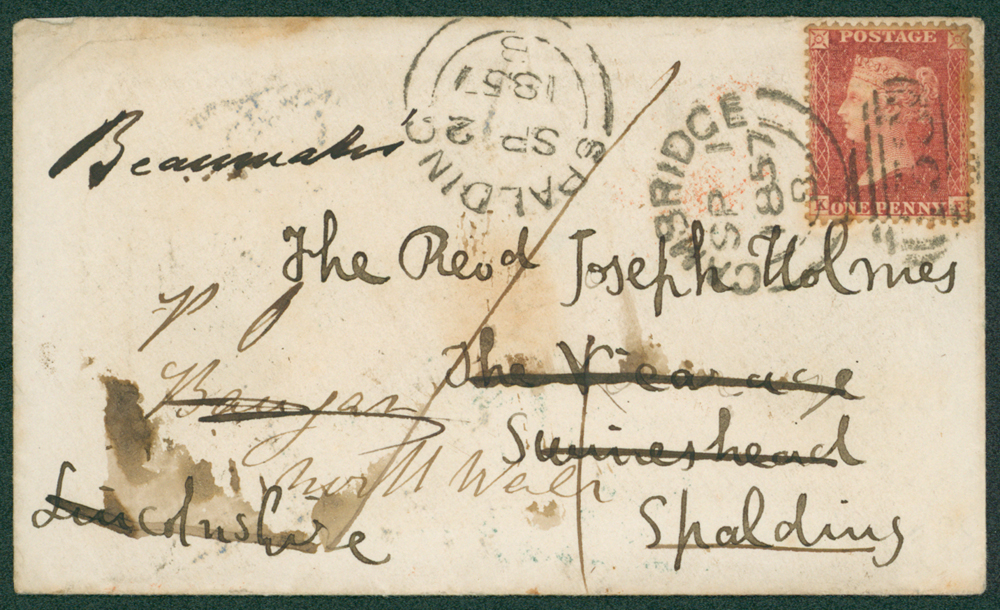 1857 envelope from Cambridge to Spalding