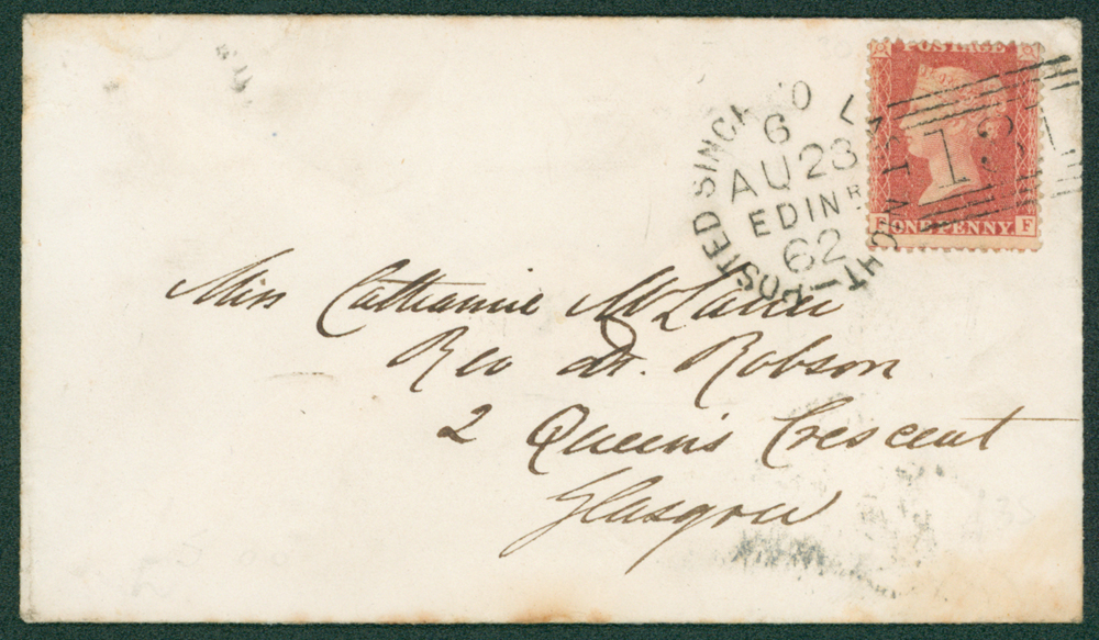 1862 envelope from edinburgh to Glasgow