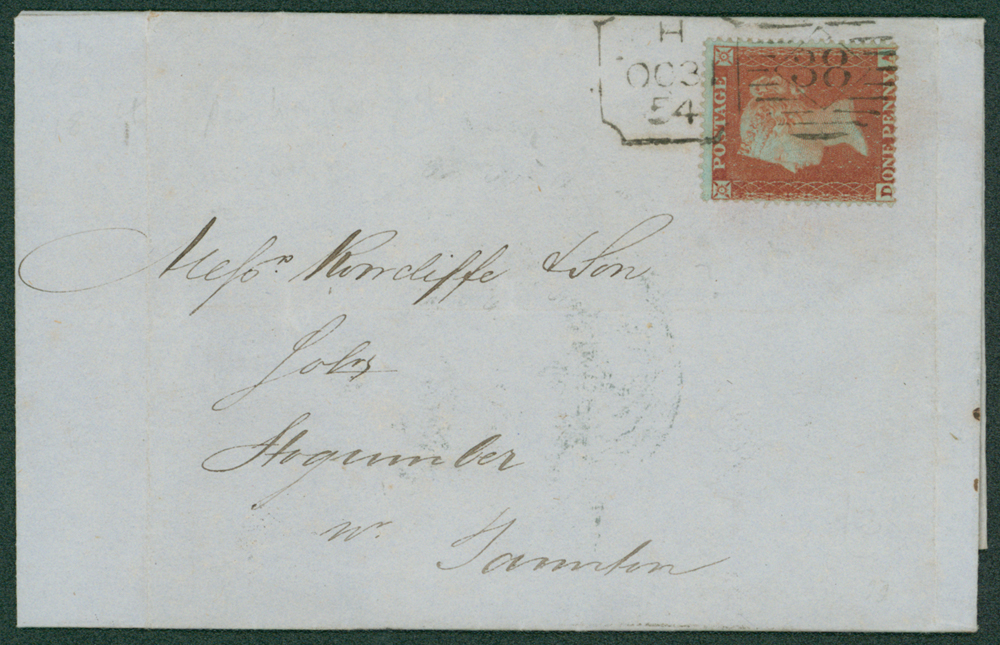 1854 cover addressed to Stogumber near Taunton, Somerset