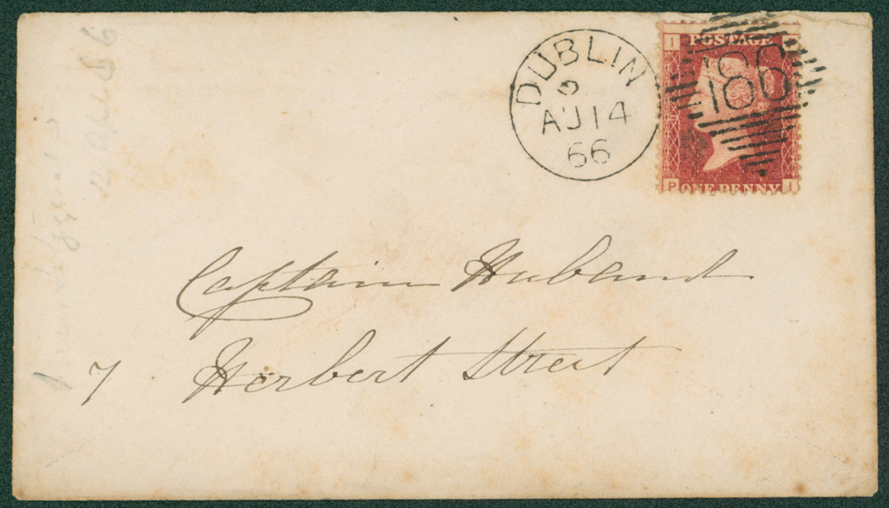 1866 envelope to Capt. Hubant, Herbert St, Dublin