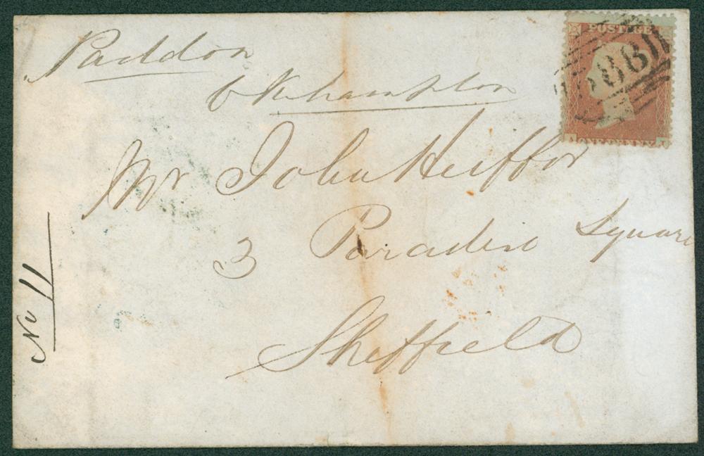 1855 envelope from Oakhampton, Devon to Sheffield
