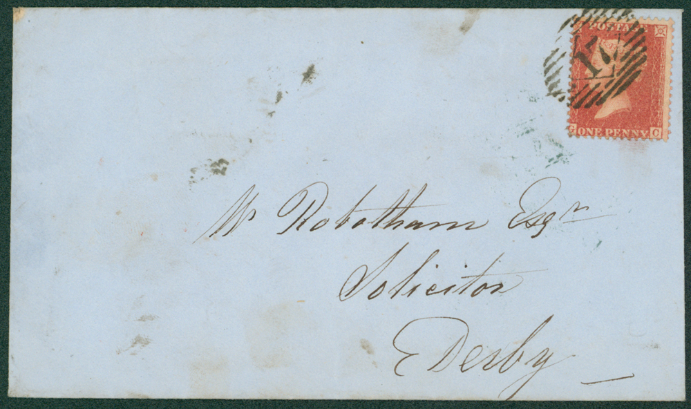 1857 envelope from London to Derby