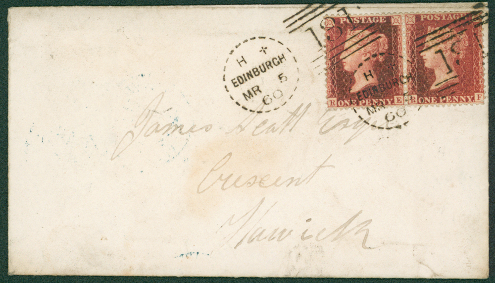 1860 envelope with contenst from Edinburgh to Hawick