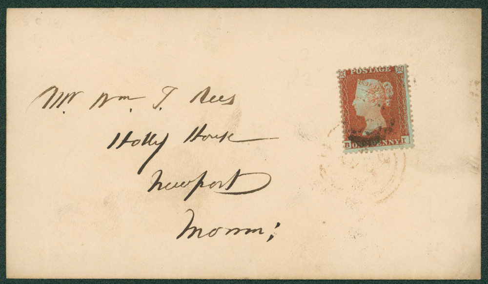 1855 envelope to Newport, Monmouthshire