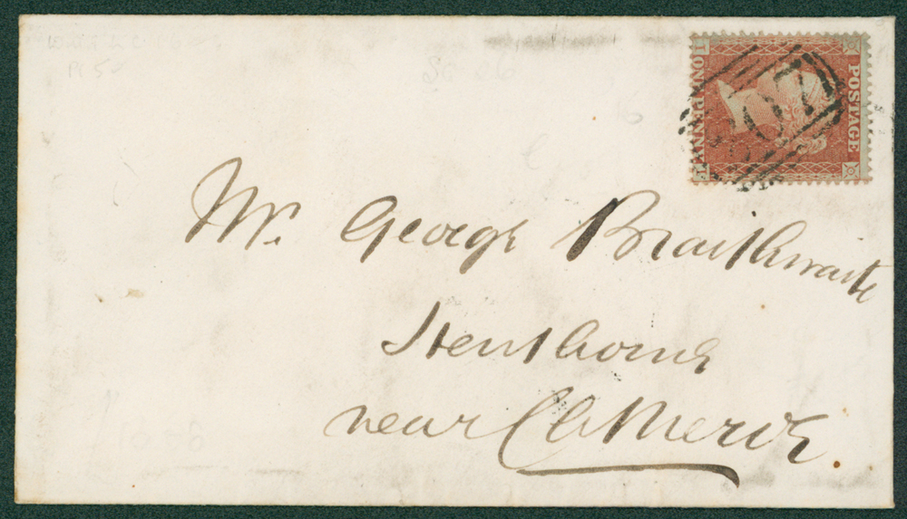 1855 envelope to Clitheroe, Lancs