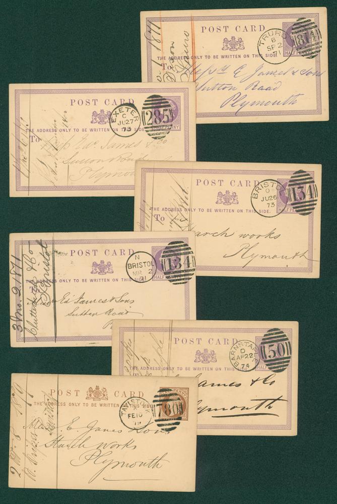 1870's halfpenny postcards (6 different)