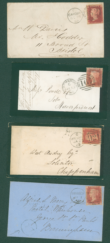 1858-63 covers franked 1d stars (4 different)