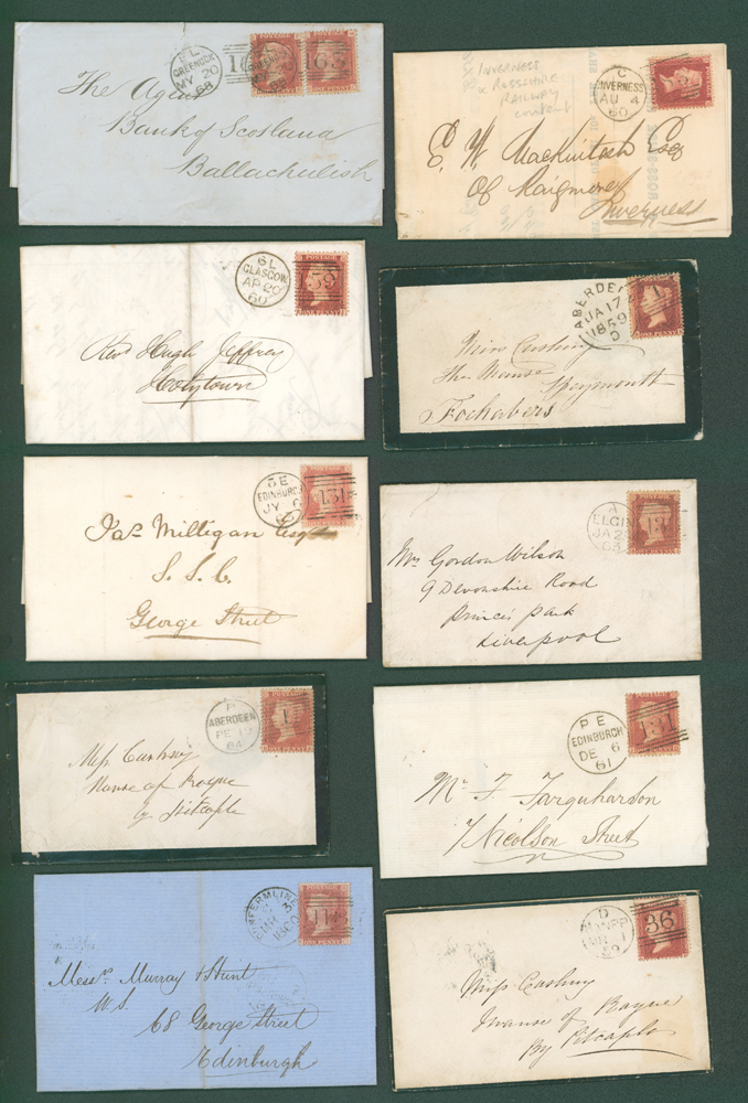 1859-76 1d stars on covers (10 different)
