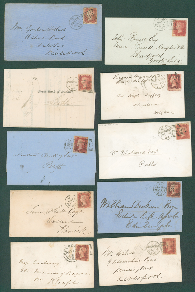 1858-64 1d stars on covers (10 different)