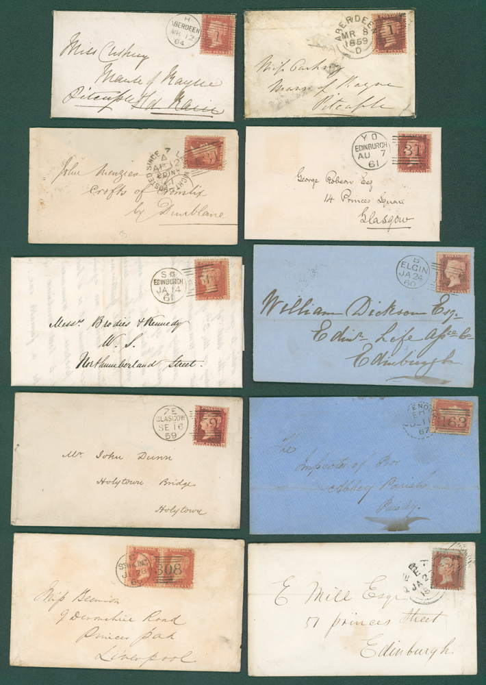 1857-67 1d stars on covers (10 different)