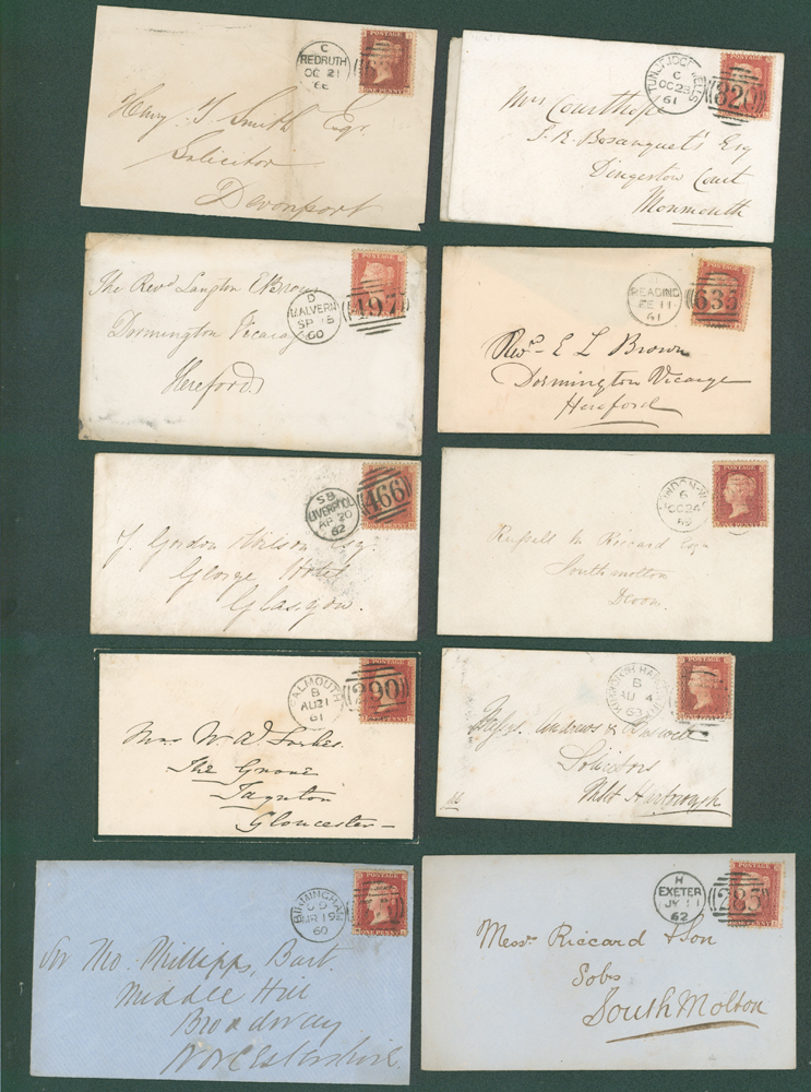 1859-64 1d stars on covers (10 different)