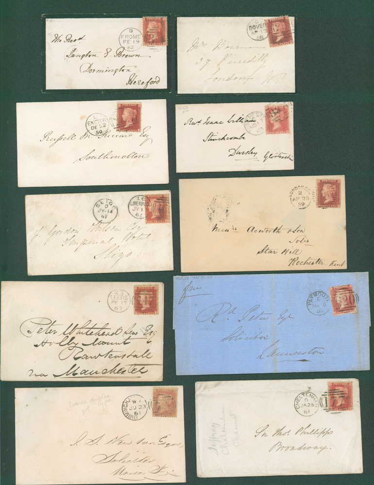 1858-63 1d stars on covers (10 different)