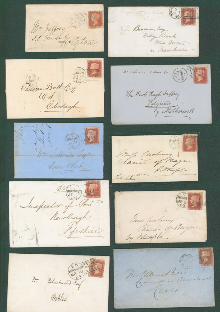 1860-76 1d stars on covers (10 different)
