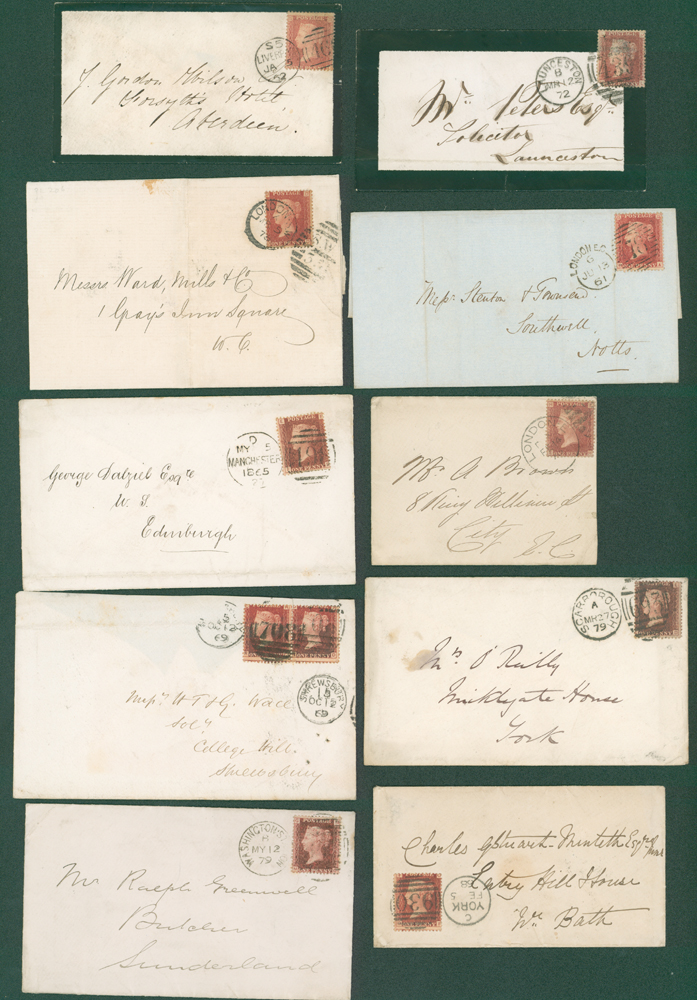 1861-73 1d stars or 1d Plates on covers (10 different)