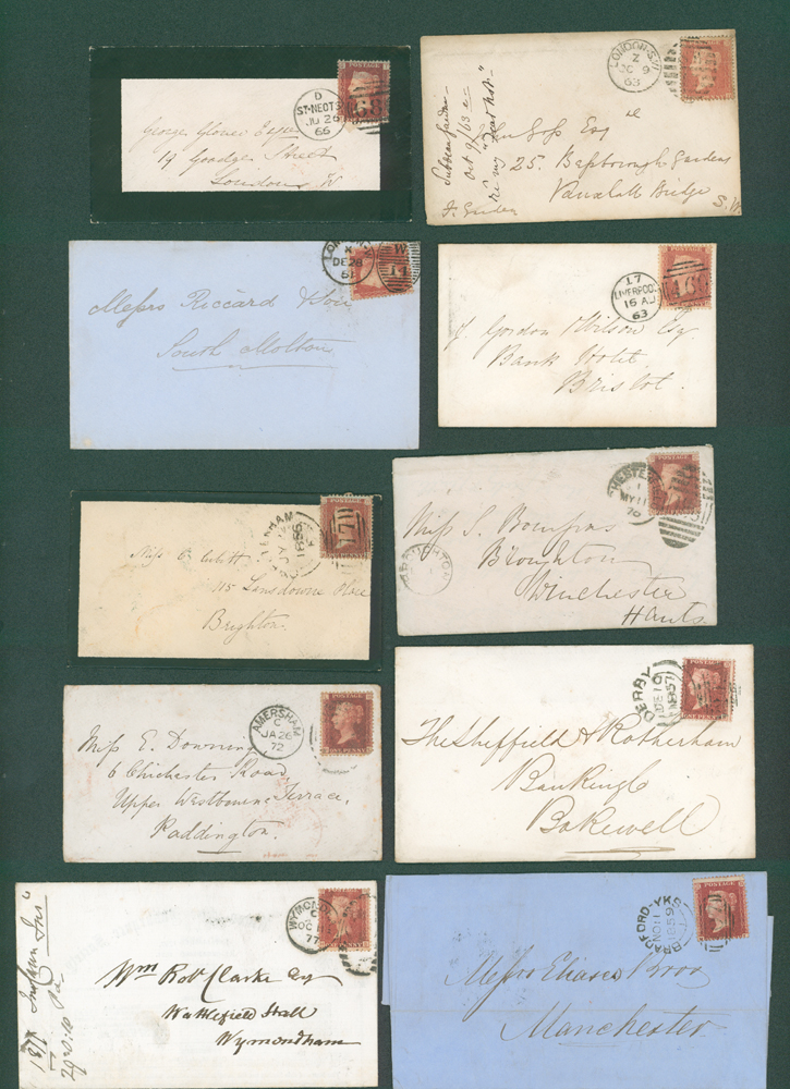 1856-77 1d stars (7), 1d Plates (3) on covers