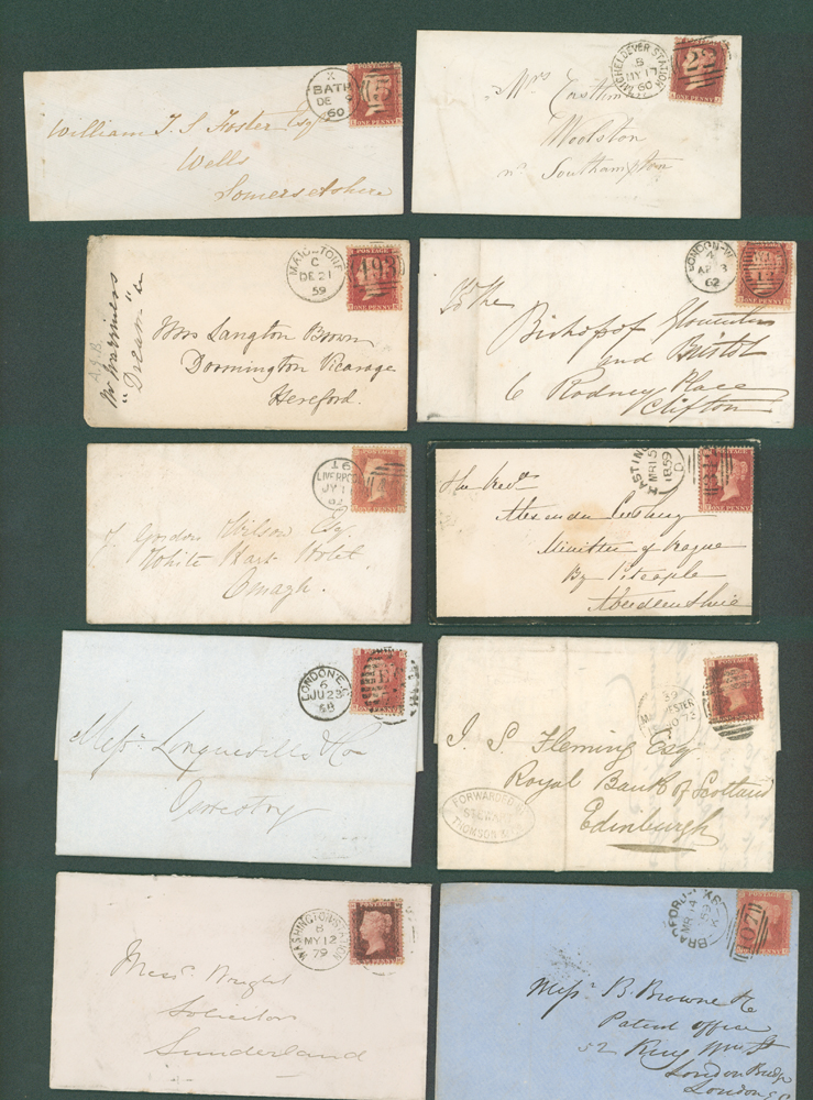 1859-68 1d stars (7), 1d Plates (3) on covers