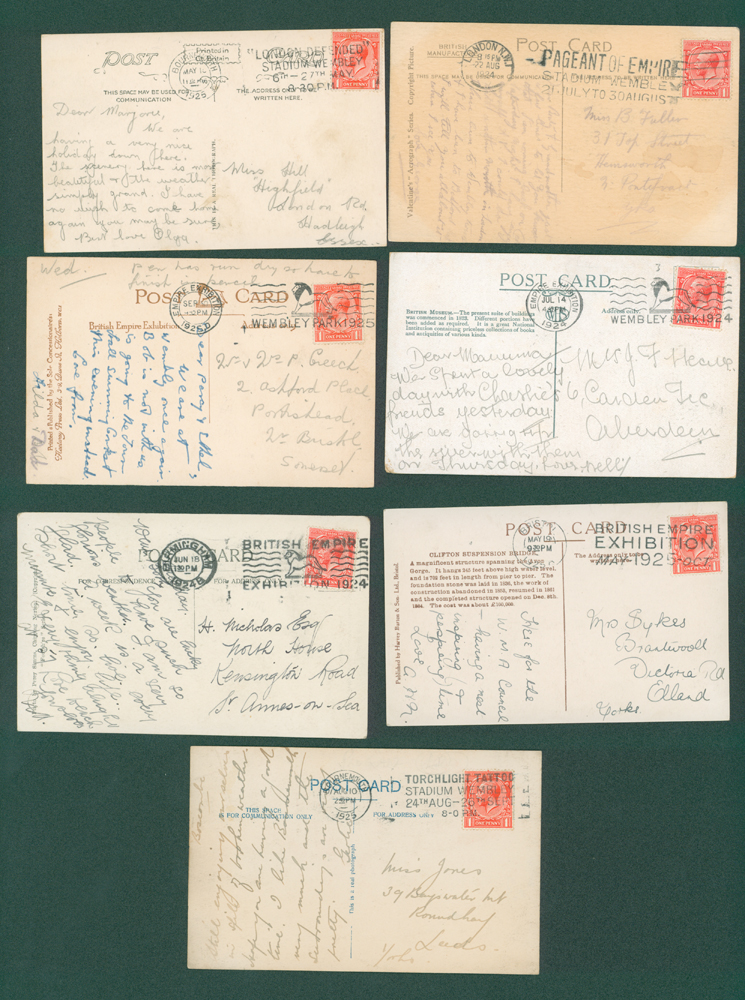 1924/5 Wembley Exhibition range of picture postcards (7 different)