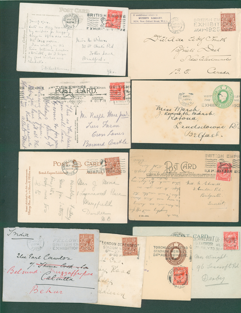 1924/5 Wembley Exhibition collection of 10 different postmarks on picture postcards