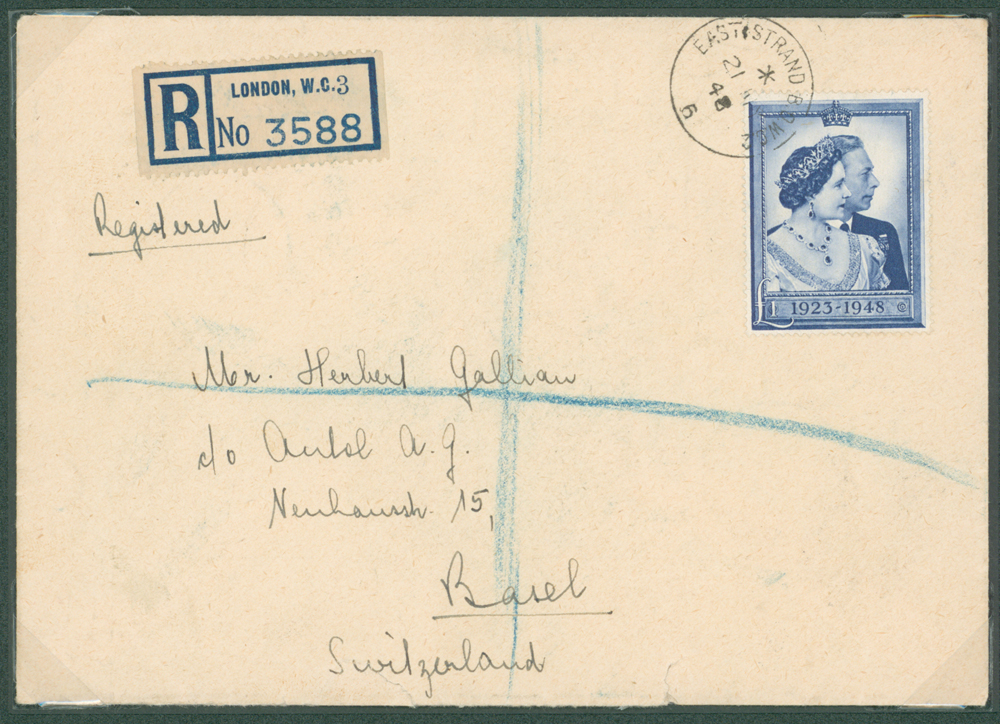 1948 Registered cover from London to Basel, Switzerland